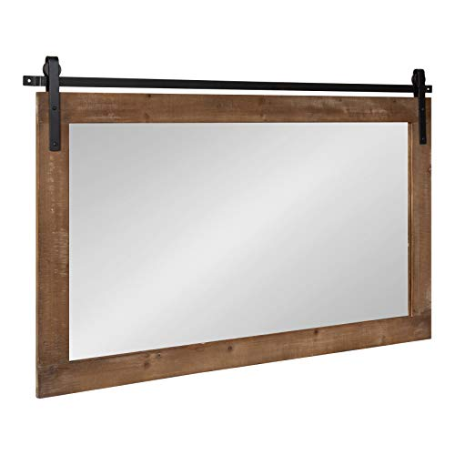 Kate and Laurel Cates Farmhouse Horizontal Wood Framed Wall Mirror, 40 x -