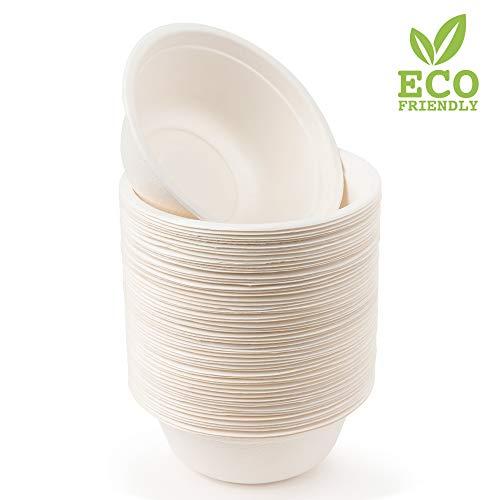 matana 60 Premium Einwegschalen Zuckerrohr, 500ml| Umweltfreundlich, Biologisch Abbaubar & Kompostierbare - Starke & Stabil| Suppenschale Schüssel Papierschalen - Flüssigkeitsdicht & Mikrowellenfest.