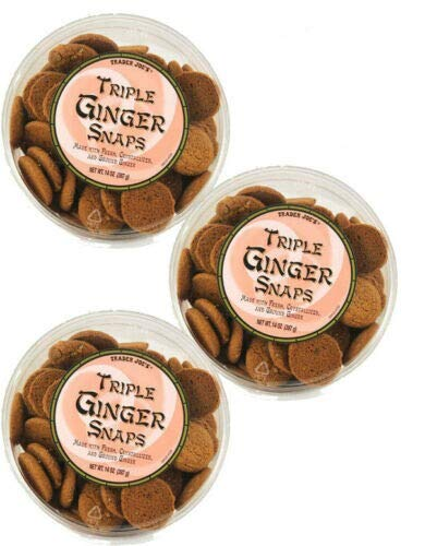 Trader Joe's Triple Ginger Snaps - 3 Pack (14 oz tubs)