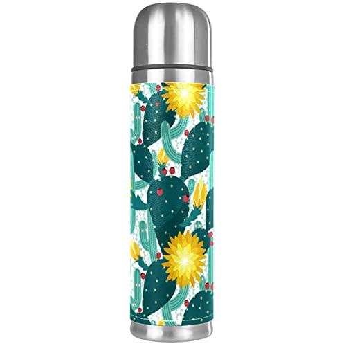 Cactuses and Flowers - Borraccia termica sottovuoto, compatta, in acciaio inox, da viaggio, 481,9 g