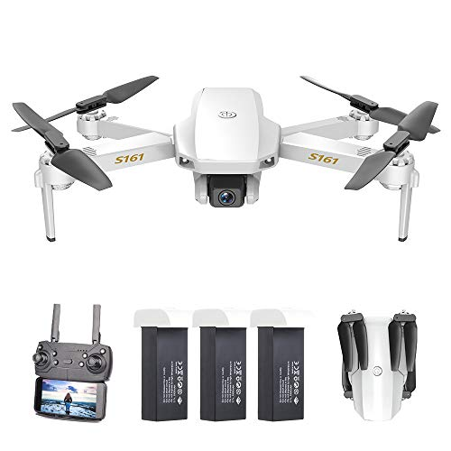 GoolRC S161 Mini Drone Pro con Cámara 4K Posicionamiento de Flujo óptico Cámara Dual Altitud Hold Gesto Fotos Video 3D FILP RC Quadcopter(Posicionamiento de Flujo óptico & 3 Batería)