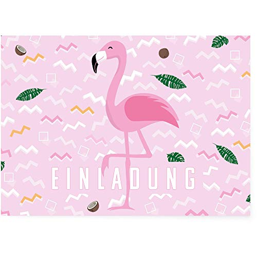 Postkartenschmiede Flamingo Einladungskarten (12er-Set) - Einladung zum Kindergeburtstag - Mädchen - rosa