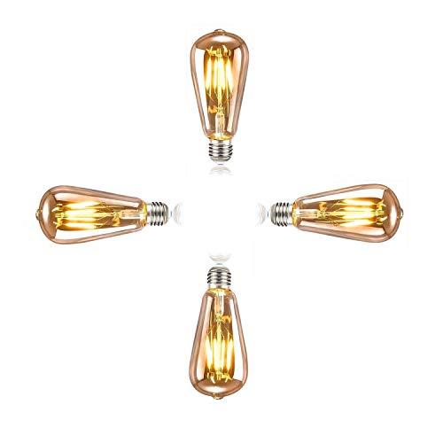 SidiOutil 4 Stk. Edison Glühbirne E27 Retro Glühbirne 4W LED Vintage Beleuchtung ST64 Ideal für Retro Beleuchtung im Haus Café Bar Musikzimmer Restaurant Hochzeit Weihnachten Dekoration, Amber Warm