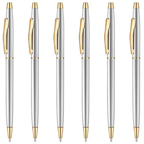 Unibene Slim Stainless Steel Retractable Ballpoint Pens - Steel & Gold, Nice Gift for Business Office Students Teachers Wedding Christmas, Medium Point(1 mm) 6 Pack-Black ink