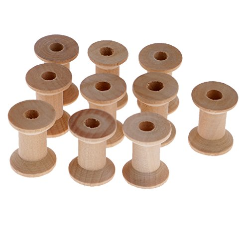 Holzspulen Naturholz Spulen zum Basteln oder Nähen, 10er / Set