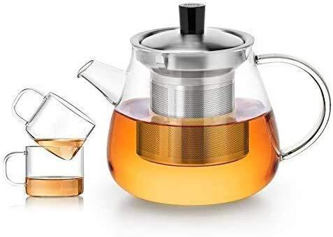Bouilloire induction Home Théière en verre avec une théière transparente infuseuse avec petite tasse et couvercle et plaque de cuisson en acier inoxydable 600 ml pour bureau WHLONG