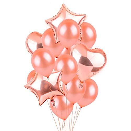Uokoki Globo del látex 14pcs Rose Gold Star corazón de la Hoja Globos de Aire cumpleaños, Ducha decoración de la Boda del Globo del Partido Partido Feliz cumpleaños Helio látex Bebés y Niños