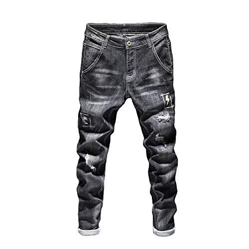 Vaqueros para Jeans Pantalones Biker Jeans Men Dark Blue Stretch Slim Fit Streetwear Desgastado Patrón De Relámpagos Pantalones De Mezclilla Casual Hombres Pantalones Hip Hop Jeans