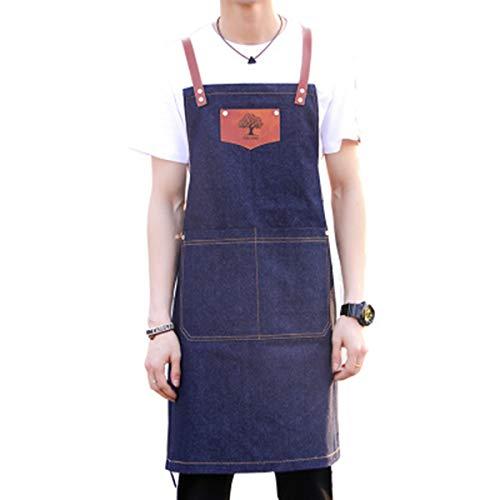 WQYH Tablier Denim Tablier en Toile Barbecue Pâtissier Chef Coiffeur Boutique De Fleurs Tattoo Artist Salopette Peinture Tablier Bleu
