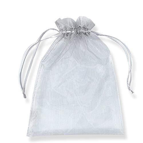 PLECUPE 100 Pcs 10x15cm Bolsas Bolsitas de Organza, Organza de Bodas Regalo de la Joyeria de Caramelo Bolsa - Gris