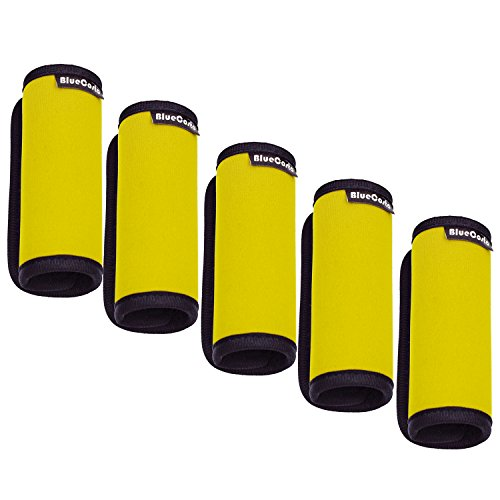BlueCosto (Yellow, 5-Pack) Soft Neoprene Luggage Handle Wrap Suitcase Grips Travel Accessories