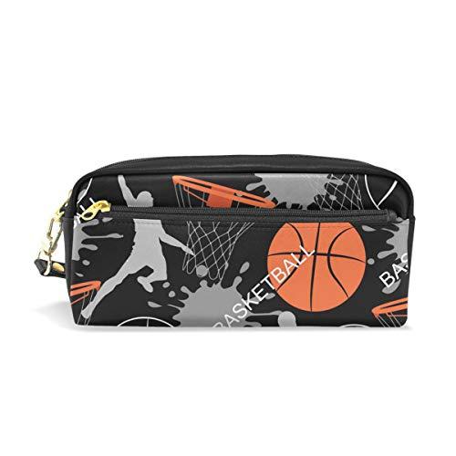 WowPrint Estuches de baloncesto de gran capacidad con cremallera de piel sintética para lápices y artículos de papelería multifuncionales