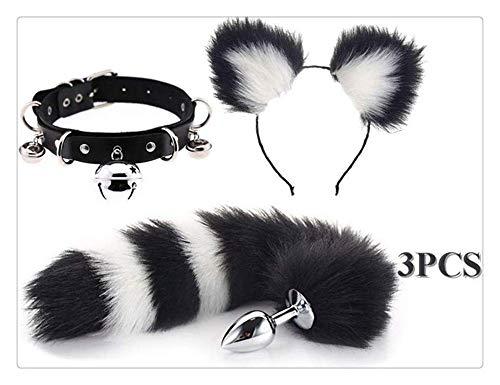nice shop now Halloween Party Toys Juego de roles B-ütt P-l-ǔ-g Fox Tail, Hǎndcǘffs, Ears Headband, 3 piezas (blanco-negro, M)