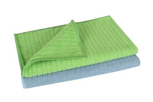 Microfaser Premium-Bodentuch Set 2 teilig, Hochtief-Struktur 50 x 60 cm für Haushalt, Küche, Laminat, Fliesen UVM.