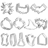 Cabilock - Set di 12 stampi per biscotti a forma di zucca, pistrello, cappello da strega