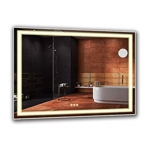 B&C 48x36 Inch LED Lighted Makeup Mirror For Bathroom Vanity With Touch Bottom For Color...