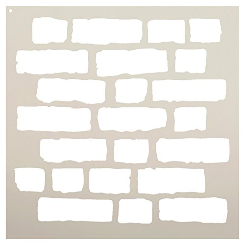 Rough Bricks Stencil by StudioR12 | Faux Finish Repeating Pattern Art - Reusable Mylar Template | Painting, Chalk, Mixed Media | Use for Crafting, DIY Home Decor - STCL703 Choose Size (18' x 18')