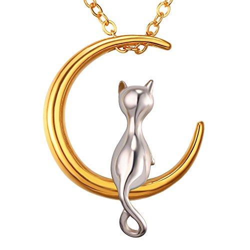 U7 Katze auf Mond Anhänger Halskette 18k vergoldet Edelstahl Kätzchen zweifarbiger Modeschmuck für Damen Mädchen