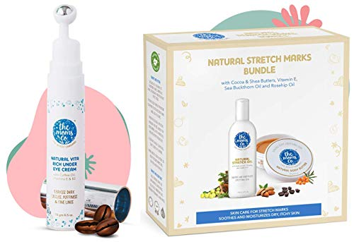 The Moms Co. Natural Vita Rich Under Eye Cream with Cooling Massage Roller and The Moms Co. 7 in 1 Natural Stretch Bio Oil (100ml) and Natural Body Butter (100g) For Preventing Stretch Marks