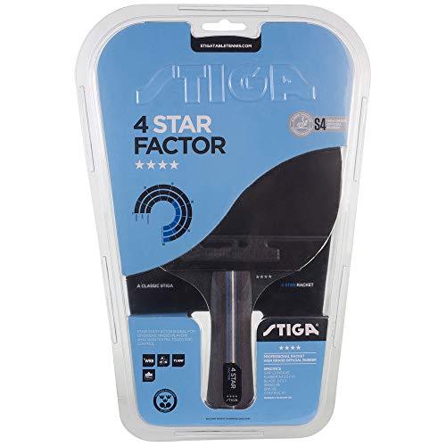 Stiga 4-Star Factor, Concave, Racchetta da Ping Pong Unisex-Adulto, Nero/Rosso, Taglia Unica
