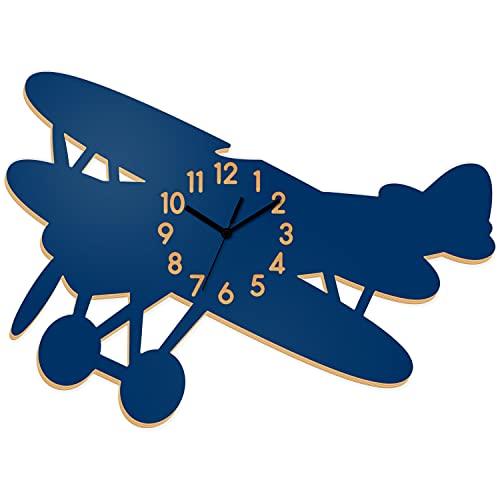 Reloj de pared 3D para niños con diseño de avión, silencioso, sin tictac, funciona con pilas, decorativo, de madera, fácil de leer, para habitación infantil, aula, casa, escuela, azul