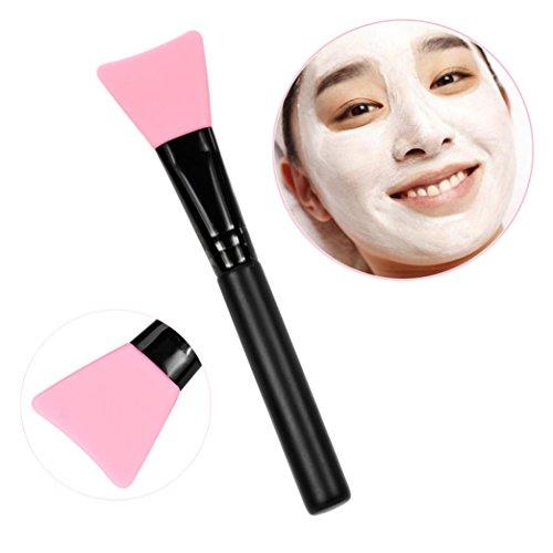 Toamen professionnelle Mask PoignéE Brosse En Bois Visage Facial Masque De Boue MéLange De Brosse CosméTiques De Maquillage (rose)