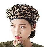 Clecibor PU Brim Leopard Print Woolen Blend Beret French Style Painter Hat Cap (Yellow)