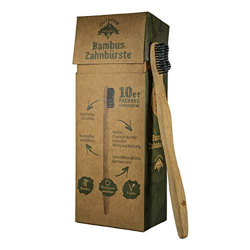 OUTDOOR FREAKZ Bambus Zahnbürste (10er Erwachsene: 5 x Schildkröte + 5 x Vogel)