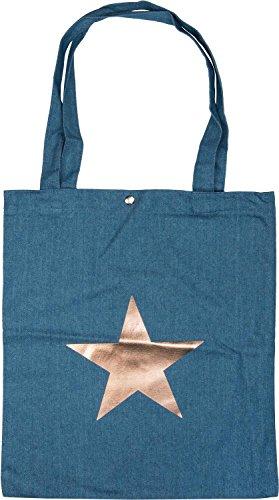 styleBREAKER Bolsa de Tela Vaquera con Estampado de Estrella metálica y botón a presión, Bolsa Vaquera, Bolso para Compras, Bolso, Unisex 02012191, Color:Azul/Oro Rosa