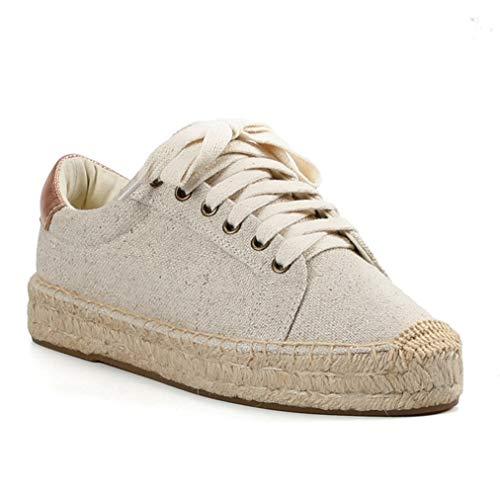 Dames Espadrilles Met Veters Ronde Hennepschoenen Met Platte Neus Casual Ademende Platformsneakers Mode Lage Dikke Sneakers