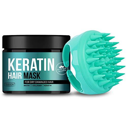 SAVION Keratin Protein Hair Treatment Mask Complex & Soft Silicone Scalp Massager - Deep Conditioning Hair Treatment for Dry Damaged Hair - Natural Shea Butter, Argan & Avocado Oils, Keratin, Biotin