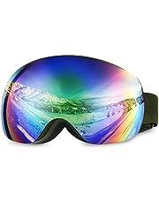 Asommet skidglasögon – ramlösa, magnetiska utbytbara linser – OTG över glasögon anti-dimma UV-skydd snöglasögon för kvinnor män damer ungdom tonåring