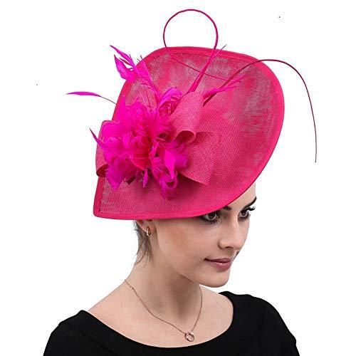 FHKGCD Accesorios para El Cabello Femenino Hot Pink Kentucky Derby Cóctel Plumas Fascinator Sombreros Boda Chapeau Gorras Sombreros, Rosa Rojo,
