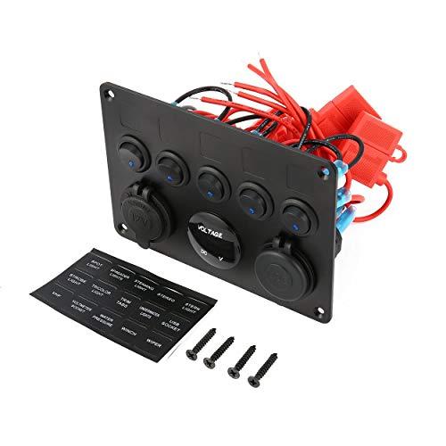 Lorenlli Panel de Control de Interruptor de Palanca ON-Off Profesional de 5 cuadrillas con voltímetro Digital 2 Cargador USB 12V para Coche Barco Marino