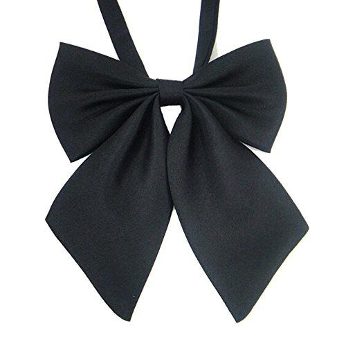 AKOAK Adjustable Pre-tied Bow Tie Solid Color Bowties for Women ties,Black