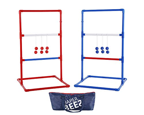 JAPER BEES Ladder Ball Indoor Ladder Toss Outdoor Game Set PRO Series, Family, Party, Beach Games and Lawn Games with Unique Soft Bolos, Heavy Duty Bars and Travel Bag for Kids, Adults (Premium)