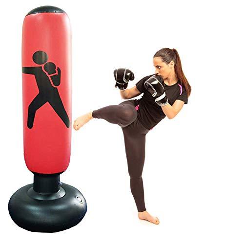 CSPone   160CM Sac de Boxe Gonflable, Sacs de Frappe Lourds, Sac de Frappe sur Pied, Punching Ball pour Adulte Enfant pour Karaté, Fitness, MMA (Rouge)