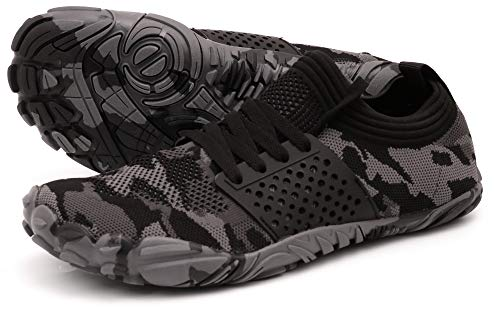 WHITIN Men's Trail Running Shoes Minimalist Barefoot 5 Five Fingers Wide Width Toe Box Gym Workout Fitness Low Zero Drop Male Sneakers Treadmill Free Athletic Ultra Camo Black Size 11