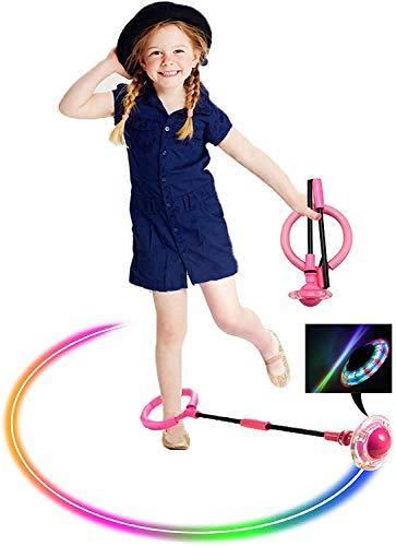 Pelota de saltar para niños, plegable, bola de salto intermitente, anillo de salto colorido para deportes, pelota de fitness, quema de grasa, juego de cuerda para niños y niñas (rosa)