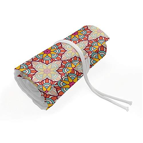 ABAKUHAUS etnico Trousse à Crayon Enroulable, Mosaico Ornato Blossoms, Organisateur de Crayon Durable & Portatif, 48 Trous, Multicolore
