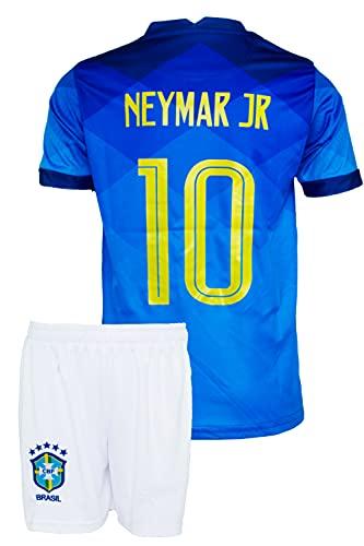 Brasilien Neymar #10 2021 Blau Auswärts Trikot und Shorts Kinder und Jugend Größe(104, 2-3 Jahre)