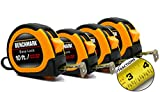 4 Pack of 10 Foot Tape Measures/Measuring Tapes - EASY TO READ FRACTIONS - Bulk Pack