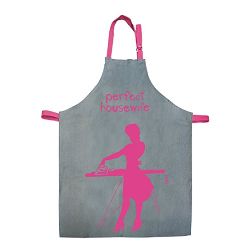 Incidence Paris 83039 Tablier Coton Woman, Gris et Rose Perfect Housewife Design, 90 cm x 70cm