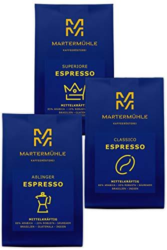 Martermühle | Espresso Probierset (3 x 250g) | Ganze Bohnen | Premium Espressobohnen aus aller Welt | Schonend geröstet | Espresso säurearm | Arabica Robusta Mischung