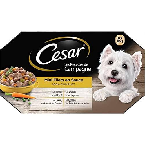 Cesar Les Recettes de Campagne Mini Filets en Sauce 100% Complet 150g par 4 (Lot de 4 Soit 16 boîtes