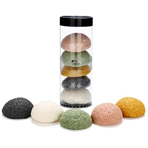 Miss Gorgeous Konjac Sponge Set - Facial Sponges for Face Exfoliating and Deep Pore Cleansing -Hypoallergenic (5 Pack)