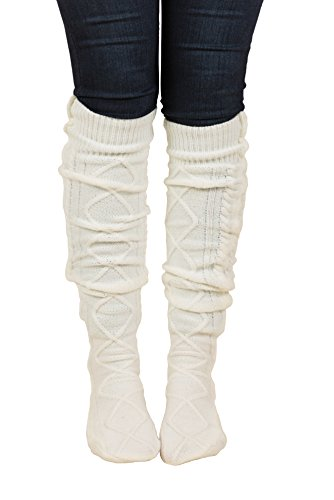 Floral Find Women's Cable Knit Knee-High Winter Boot Socks Extra Long Thigh Leg Warmers Stocking