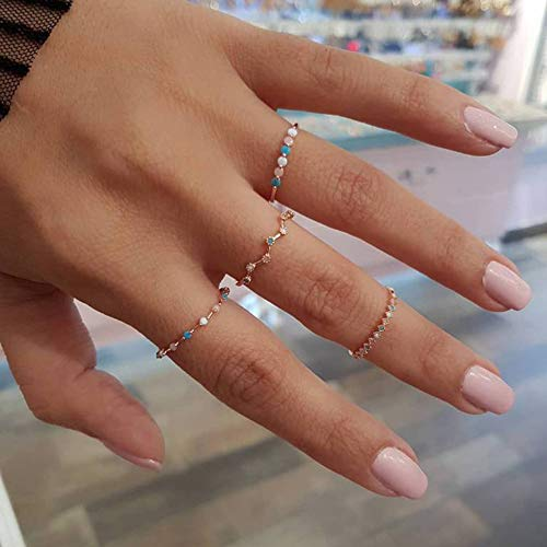 BERYUAN 4Pcs Women Dainty Gold Ring Set Simple Rainbow Colorful Bead Cute Wave Knuckle Ring Set Gift For Her Lovely Ring Set Women And Girls Teens