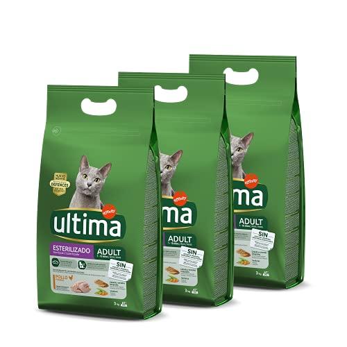 Ultima Cibo per Gatti Adulti Sterilizzati con Pollo - 3 x 3kg: Total 9kg