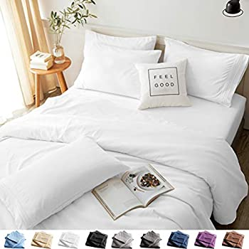 LBRO2M Bed Sheets Set King Size 6 Piece 16 Inches Deep Pocket 1800 Thread Count 100% Microfiber Sheet,Bedding Super Soft Comforterble Cool Warm,(White)
